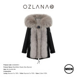 【中国仓】OZLANA 皮草大衣AU202006-3  Black(Men)+Classic Grey Raccoon 黑色(男款)+经典奶奶灰貉毛