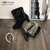 【澳洲仓】【冬款出清】EVER UGG Tiffany 111014 黑色镶空高跟短靴